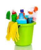 Cleaning items in bucket Stock Image