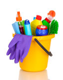 Cleaning items in bucket Stock Photos