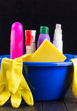 Cleaning items in bucket  Stock Photography