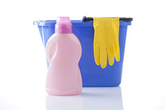 Cleaning items, bucket and cleaning gloves Royalty Free Stock Image