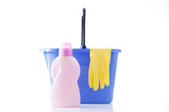Cleaning items, bucket and cleaning gloves Stock Photography