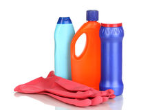 Cleaning items and gloves Royalty Free Stock Images