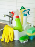 Cleaning items household kitchen brush sponge glove Stock Images