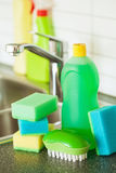 Cleaning items household kitchen brush sponge glove Royalty Free Stock Photos