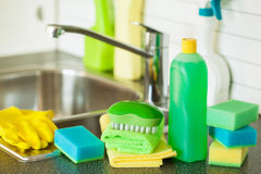 Cleaning items household kitchen brush sponge glove Royalty Free Stock Photo