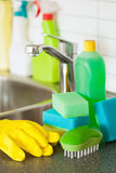 Cleaning items household kitchen brush sponge glove Royalty Free Stock Photography