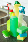 Cleaning items household kitchen brush sponge glove Stock Photos