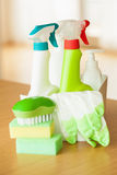 Cleaning items household spray brush sponge glove Royalty Free Stock Image