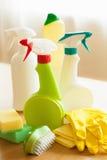 Cleaning items household spray brush sponge glove Stock Photography