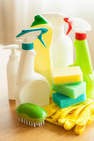 Cleaning items household spray brush sponge glove Royalty Free Stock Images