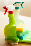 Cleaning items household spray brush sponge glove Stock Photo