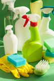 Cleaning items household spray brush sponge glove Stock Images