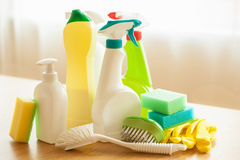 Cleaning items household spray brush sponge glove Royalty Free Stock Photo