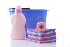 Cleaning items, houshold cleaning Stock Images