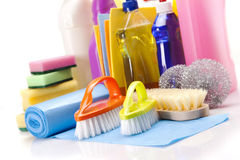 Cleaning items set isolated Royalty Free Stock Photos
