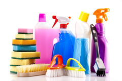Cleaning items set isolated on white Royalty Free Stock Photos