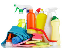 Cleaning items set Stock Photos