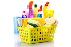 Cleaning items set in yellow bucket Stock Photography