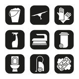 Cleaning items and tools icons set. Trash can, bucket, vacuum cleaner, spray, toilet, brush rubber gloves. Vector white vector illustration