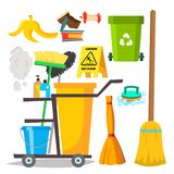 Cleaning Items Vector. Household Supplies Icons. Equipment. Isolated Cartoon Illustration stock illustration