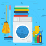 Cleaning items with washing machine Royalty Free Stock Photography