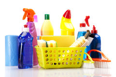 Cleaning items on white background Royalty Free Stock Images