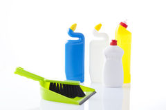 Cleaning items on white background Stock Photos