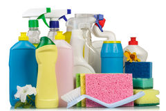 Cleaning items on white Royalty Free Stock Photo