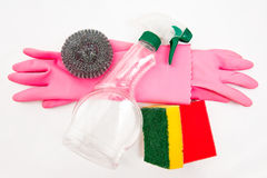 Cleaning kit. Containing glows, sponge and cleaning product Royalty Free Stock Photography