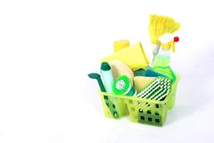 Cleaning kit. Yellow and green cleaning kit Stock Photos