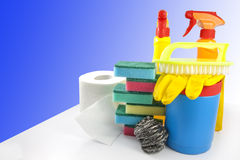 Cleaning kit for cleaner. With on blue Royalty Free Stock Photography
