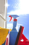 Cleaning kit for cleaner on the window. Cleaning kit for cleaner with on blue sky Royalty Free Stock Photos