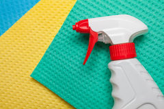 Cleaning kit for house. Spray on microfiber cleaning towels for house cleaning Royalty Free Stock Image