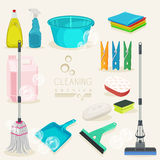 Cleaning kit icons. Colorful Supplies. Royalty Free Stock Photos