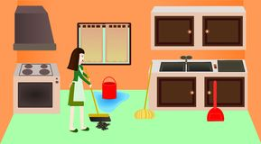 Cleaning the kitchen. A lady cleaning the kitchen stock illustration