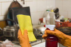 Cleaning the kitchen Stock Images