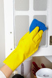 Cleaning kitchen dresser Royalty Free Stock Images