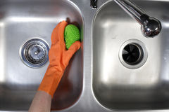Cleaning Kitchen Sink Royalty Free Stock Photo