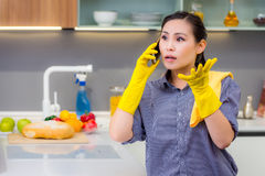 Cleaning in the kitchen Royalty Free Stock Image