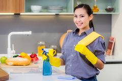 Cleaning in the kitchen royalty free stock images