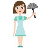 Cleaning kobieta, eps, wektor, ilustracja, odizolowywająca Zdjęcia Royalty Free