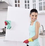 Cleaning kobiety znak Fotografia Royalty Free
