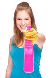 Cleaning lady. Full isolated studio picture from a young and beautiful cleaning lady Royalty Free Stock Photos
