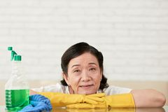 Cleaning lady. Aged cleaning lady leaning on her arms and looking at camera Royalty Free Stock Images