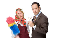 Cleaning lady and a business man Stock Photography