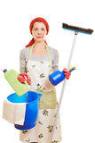 Cleaning lady with cleaning Royalty Free Stock Photography