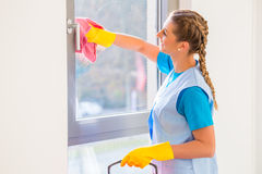Cleaning lady with cloth. At window royalty free stock photo