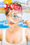 Cleaning Lady Detective. Soap Bubbles Fly As The Cleaning Lady Detective Enter The Home Spying With One Big Eye Looking For Dirt Making Sure Everything Is Royalty Free Stock Photos