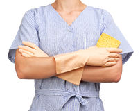 Cleaning lady folded arms Stock Photo