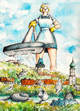 Cleaning lady. Giant cleaning lady cleaning a city with vacuum cleaner.Picture created with watercolors Royalty Free Stock Images